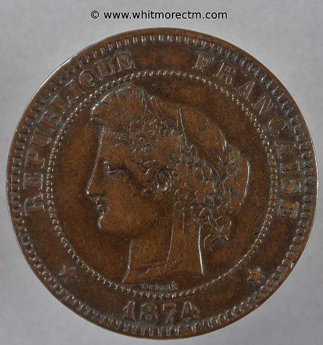 1874 France Y44 10 Centimes 1874K