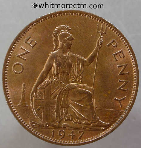 1947 British Bronze Penny George VI  60% Luster