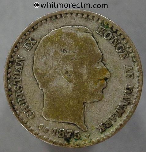 1875 Denmark Y11 10 Ǿre coin