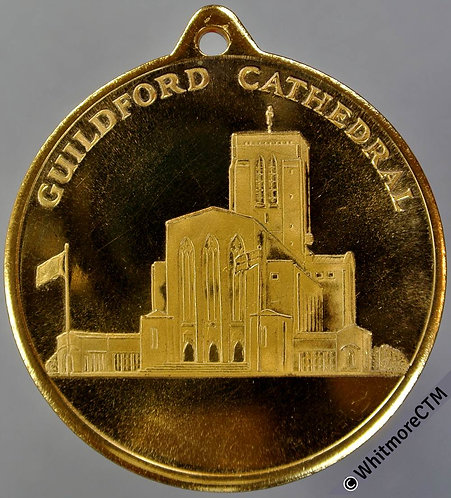 Guildford View of Cathedral Medal 38mm Gilt brass with suspender