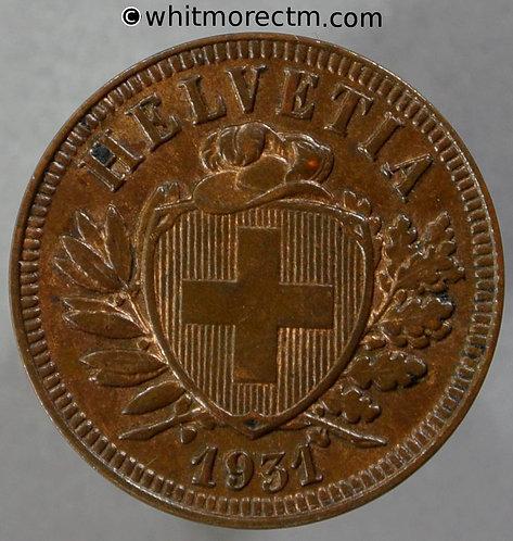 1931 Switzerland Two Centimes Y19