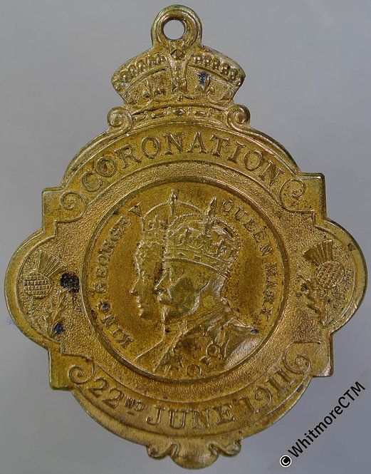 Glasgow 1911 Coronation Medal 32x36mm bronze Elaborate cut out shape
