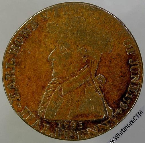 18th Century Halfpenny Emsworth 33 1795 Earl Howe. Mining Tools 1790 Partly weak