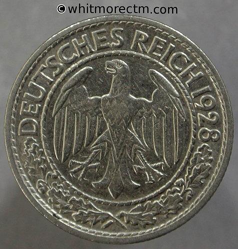1928 Germany 50 Pfennig coin 1928A
