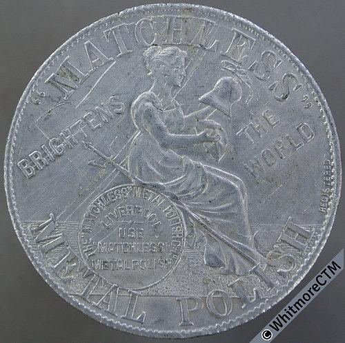 1907-08 Calendar Medal Matchless Metal Polish 38mm Britannia cleaning helmet, Al