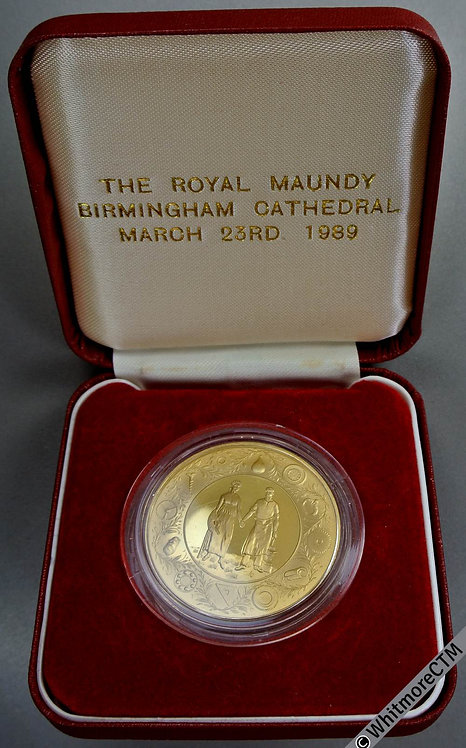 Birmingham 1989 Royal Maundy Ceremony Medal 39mm Gilt bronze. Cased