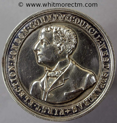 1889 H.L.W.Lawson Viscount Burnham Election Medal 35mm Silver - not in Brown