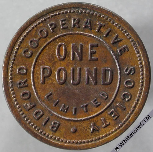 Co-Operative Society token Bidford 24mm One Pound -Uniface copper