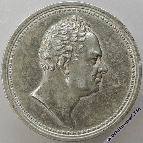 1837 Death of William IV Medal 58mm B1717 By Barber White Metal