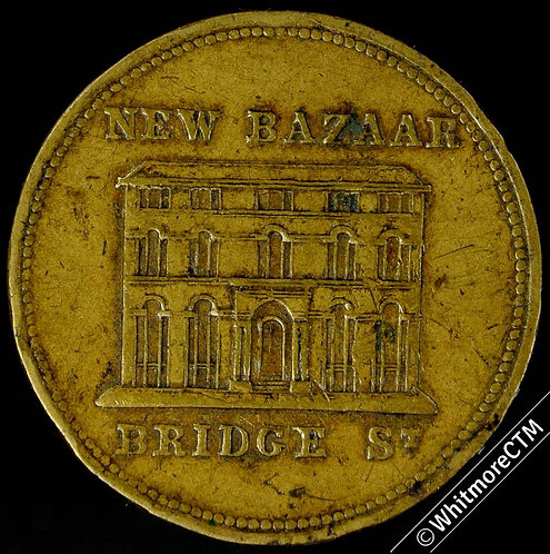 Advertising Token Manchester Falkner Brothers New Bazaar. See TB2 p112.  Brass