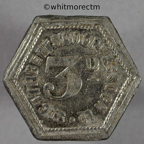 St Cuthberts Co-Operative Society Token 21mm 3D Hexagonal silvered zinc
