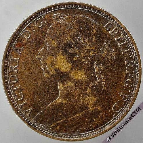 1890 British Bronze Penny Victoria Bun Head