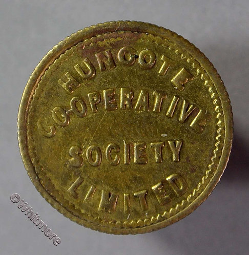 Co-Operative Society Token Huncote Leicestershire - 19mm Half Sovn.Gilt brass