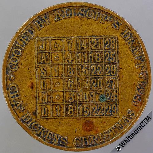 1915 Wednesdays Calendar Medal 32mm Cooled by Alsopp's Draft - Bronze
