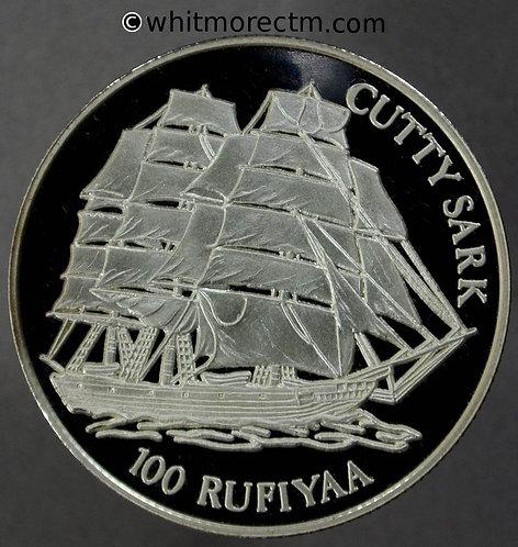 1998 Maldive Islands 100 Rufiyaa KM# 87 - cutty sark - silver proof OBV