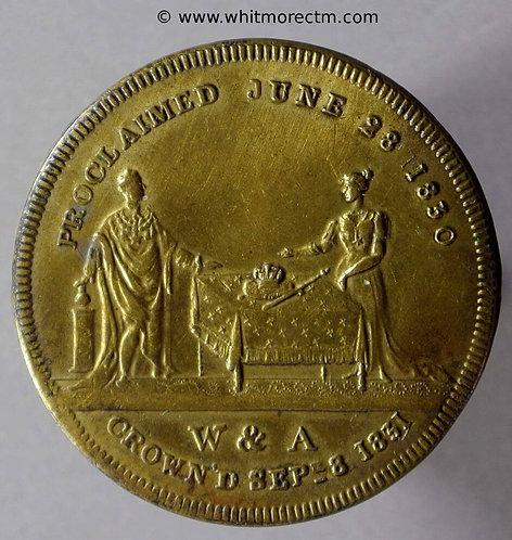 1831 William IV & Adelaide Coronation Medal obv 29mm B1506 Gilt bronze