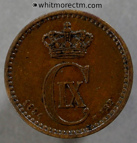 1894 Denmark 1 Ǿre coin
