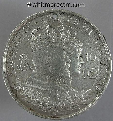 Morley 1902 Coronation Medal 44mm WE4611D By Vaughton. White metal