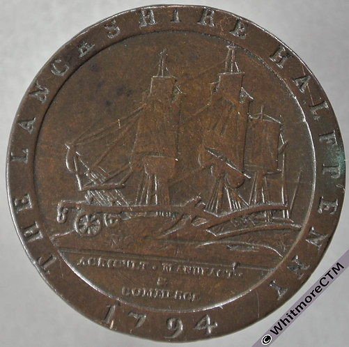 18th Century Halfpenny Lancaster 58 1794 Daniel Eccleston Ship & plough.