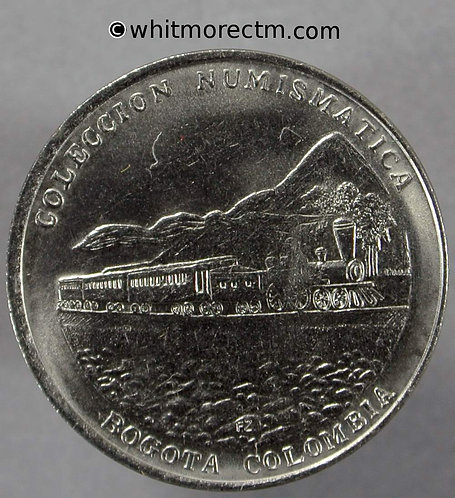 Columbia Collection Banco de la Republica Numismatic Medal 23mm Steam train