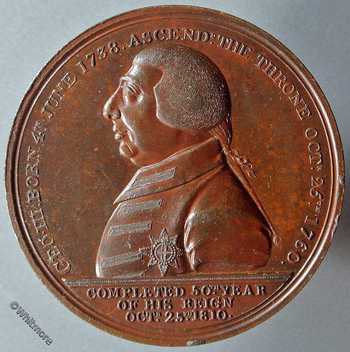 1810 Golden Jubilee of George III Medal 48mm B686 By Hyde. Bronze