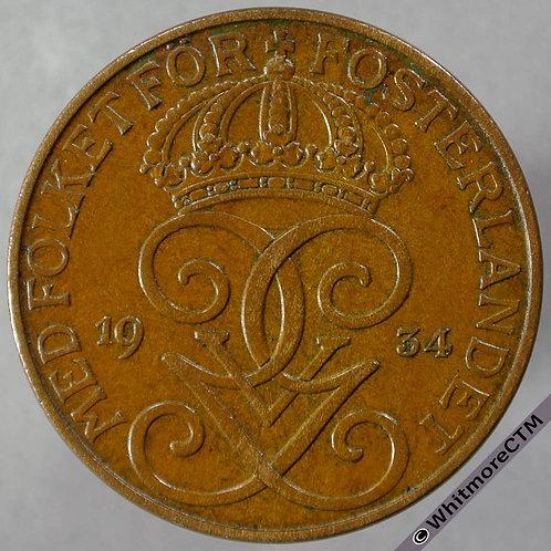 1934 Sweden 5 Öre - obv