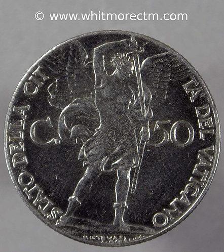 1941 Vatican City Y25a 50 Centesimi coin obv