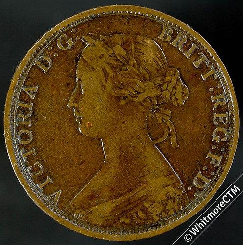 1863 British Copper Halfpenny Victoria Bun Head