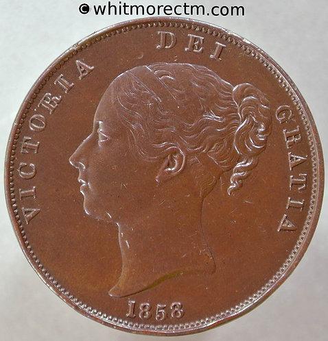1858 British Copper Penny Victoria Young Head - No W.W