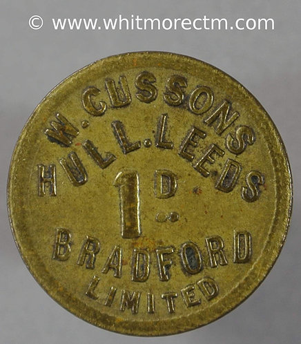 Hull, Leeds, Bradford Value Stated Token 20mm W.Cussons Ltd.