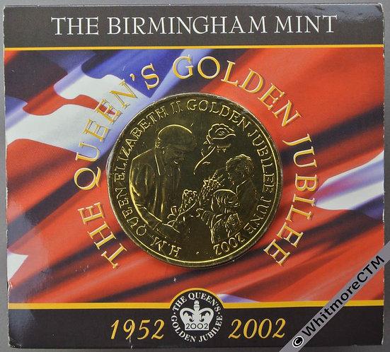 2002 Golden Jubilee Queen Elizabeth Medal 50mm Birmingham Mint Gilt Bronze