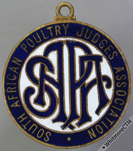 South Africa Poultry Judges Association Medal 28mm Enamelled Gilt Brass