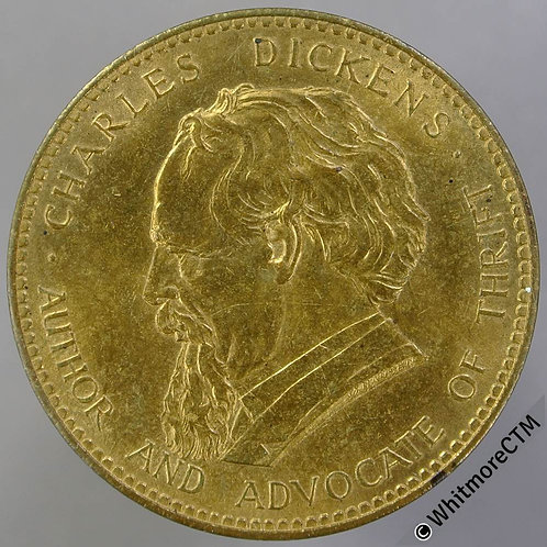 """1961 Trustee Savings Bank Charles Dickens Medal 33mm Bronze """"Advocate of thrift"""""""