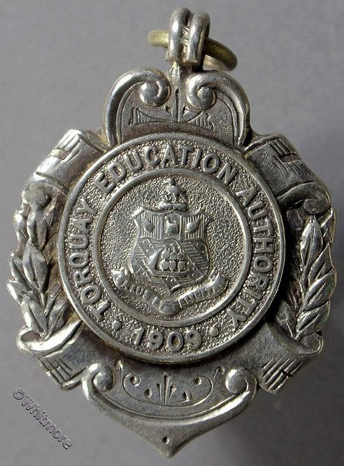 Torquay 1909 Education Authority Medal 23x35mm D2108 Birmingham Hallmark Silver