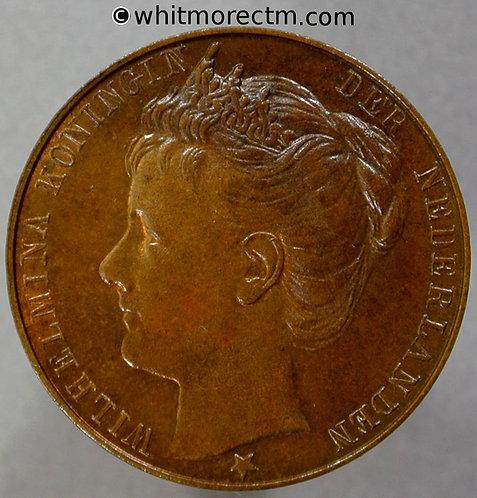 1898 Netherlands Coronation of Queen Wilhelmina Medal 24mm Bronze 20% Luster