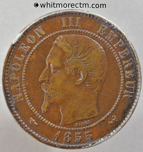 1855 France 5 Centimes coin 1855W Dogs head Y17