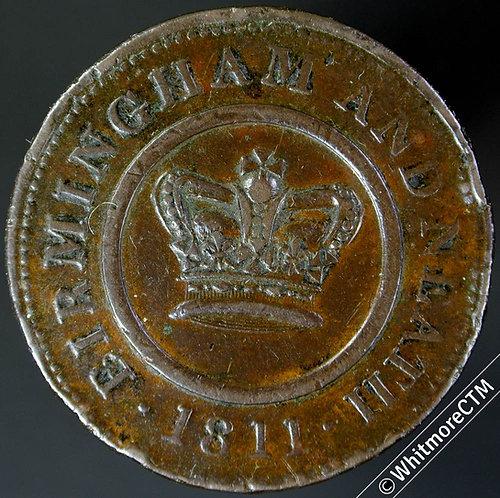 19th Century Penny Token Birmingham 220 1811 Birmingham & Neath - Edge Knock