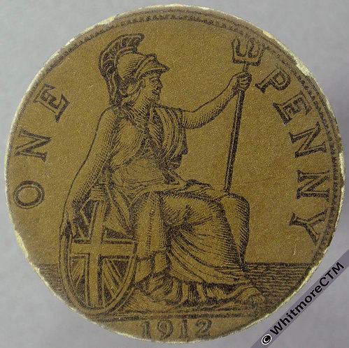1912 Toy Coin Penny - Bronze Card 30.5mm x 1.2mm. Evans 1274