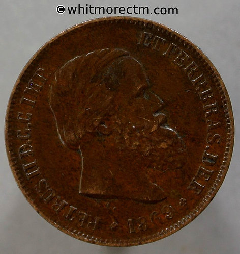 1869 Brazil 10 Reis coin With stop - YA11