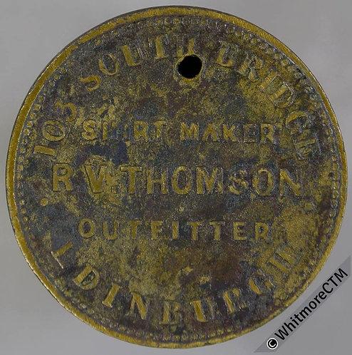Unofficial Farthing Token Edinburgh 7261 R.V.Thompson. Shirt Maker etc Pierced