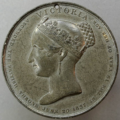 1838 Victoria Coronation Medal 51mm B1842 W.M. Rare
