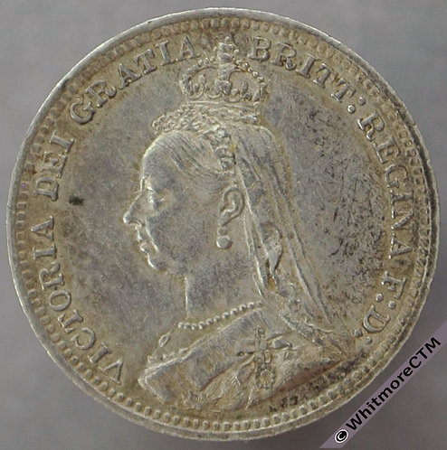 1890 Victoria Jubilee Head threepence 3d - D1340 3+A