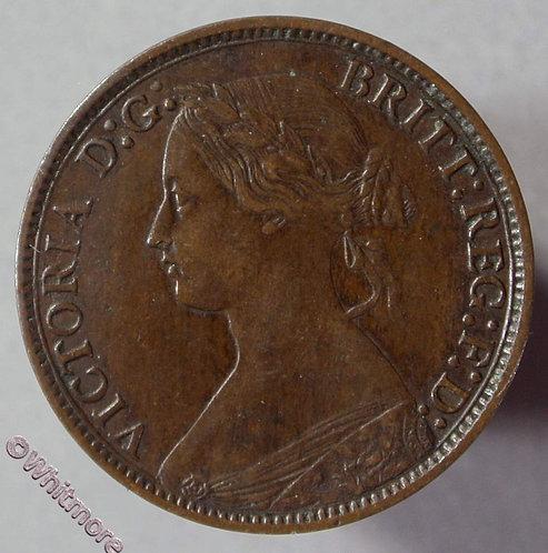 1873 British Bronze Farthing Victoria Bun Head