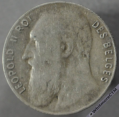 1901 Belgium 50 Centimes obv - French Legend. Silver
