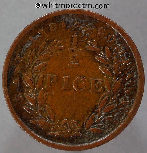 1853 British India Half Pice coin C866 S&W3.84