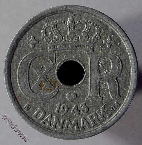 1943 Denmark Y50a 25 Ǿre Coin  Zinc