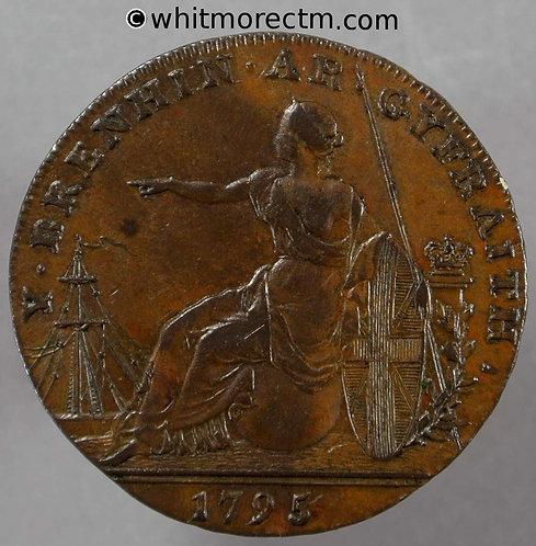 18th Century Halfpenny Glamorgan 3a 1795 Jestyn etc Britannia. Edge: Glamorgan
