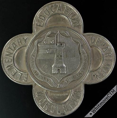 1904 Worcester 7 Year Attendance Medal 41mm D2740 By Elkington Quatrefoil silver
