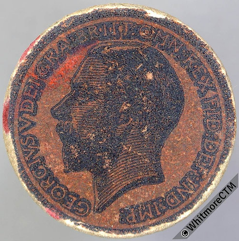 1912 Card Toy Coin Half Penny - black on coppery brown Evans 1290