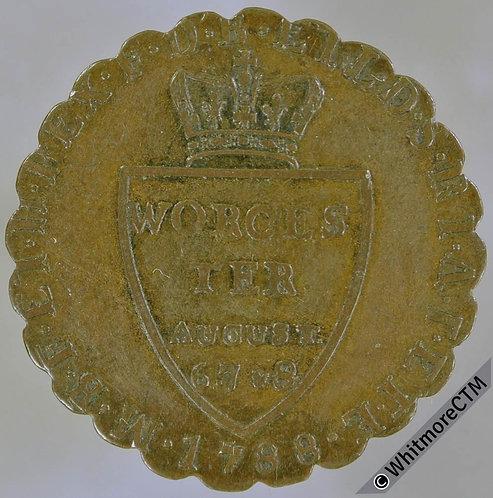 18th Century Halfpenny Token Worcester 34 1788 George III. Scalloped edge. Rare